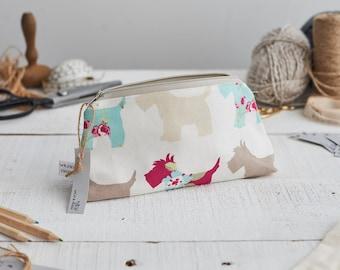 Small Zipped Scottie Dog Print Bag