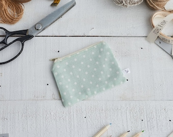 Mint Green and White Spot Print Coin Purse
