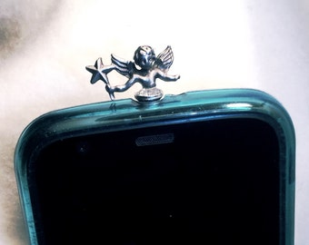 Pewter Angel, Cell Phone Dust Plug/Deco. Phone bling/accessory.  Cell phone dust plug.