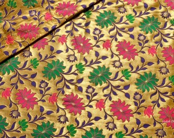 Fluorescent handloom Silk Jacquard fabric Homespun Brocade fabric by the yard