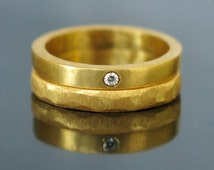 Unique wedding band set, Gold diamond wedding band, Gold wedding ring, Gold ring set, Stacking engagement ring, Gold diamond ring, Men Women