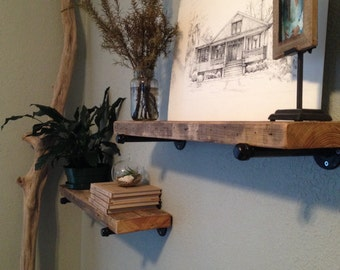 Rustic, Reclaimed Wood and Steel Shelves. Industrial Shelf. **LIMITED QUANTITIES