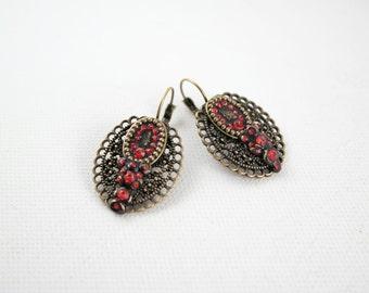 Red vintage earrings,brass big earrings,rhinestone earrings,red black earrings,victorian earrings,oval red earrings,unique earrings gift