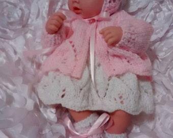 "12"" Reborn Doll Lacy Coat and Dress Set #84"
