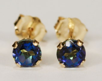 Mystic Blue Topaz Earrings~14 KT Yellow Gold Setting~4mm Round~Genuine Natural Mined
