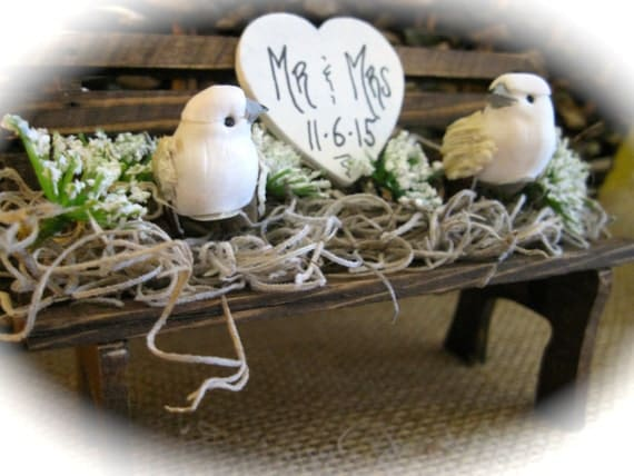 Rustic Wedding Bench Cake Topper with Mini Woodland Doves. Personalized