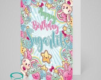 Happy Birthday Sugartits! - Naughty alternative greetings card, sweary adult