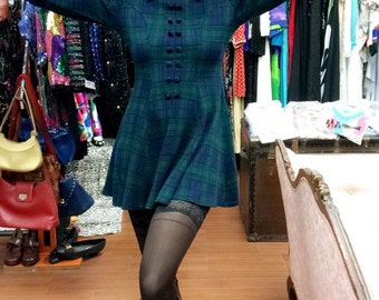 CLUELESS style vintage 90s grunge hipster green blue black plaid dress with velvet cuffs and collar