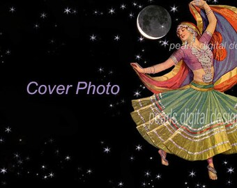 large Cover Photo, Gypsy Moon Dancer, instant download, blank 3360 x 840 pixels, stars and moon, swirling skirt, flowing scarf, vintage lady