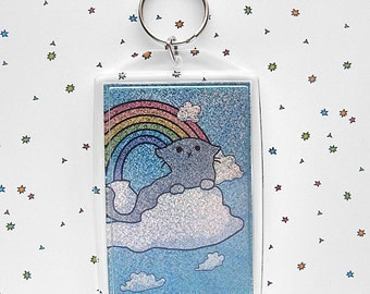 Sparkle Cute Cat Keychain, Tabby Keychain, Cloud Cats, Kitty on a Cloud, Sky Keychain, Sky Cat, Cute Cat, Kawaii Keychain, Rainbow Glitter