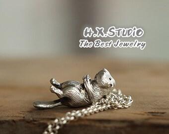 Handmade 3D Silver Beaver Pendant, Silver Lovely Beaver Pendant, Anniversary, Birthday, Christmas, Gift,  Wholesale Available