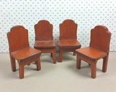 "STROMBECKER WOOD CHAIRS, Set of Four, 3/4"" to 1"" Scale, 1930's, Vintage Dollhouse Furniture"
