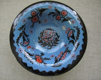 "Baden Germany, Peasant Style Ceramic 10"" bowl"