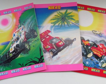 Vintage 3 notebooks/writting books Nikko Rc cars. Gigi made in Italy 1990