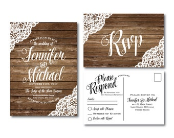 Rustic Wedding Invitation & RSVP Postcard Set, Lace Wedding Invitations, Country Chic, Rustic Lace, Fall Wedding, Printed Wedding Set #CL150