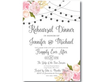 Rustic Rehearsal Dinner Invitation, Country Chic, Hanging Lights, Floral Wedding, Rustic Wedding, Printed Rehearsal Dinner Invitation #CL105