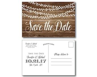 Rustic Wedding Save the Date, Country Chic, Hanging Lights, Fall Wedding, Rustic Wedding, Save the Date, Wedding Postcards, Save Date #CL152