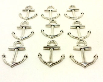 SHOP CLOSING SALE, 9 Silver Anchor Charms, 20 mm