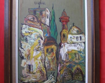 Israeli Artist, Marvelous Oil on Canvas Painting   - Free Shipping