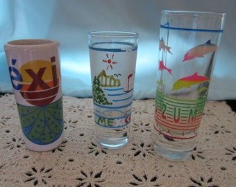 Set of Three Tall shot glasses from Mexico
