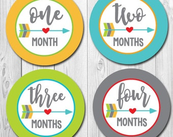 Tribal Arrows Monthly Stickers, Baby Month Stickers, Milestone Heart Arrows, Baby Photo Stickers, baby boy month stickers