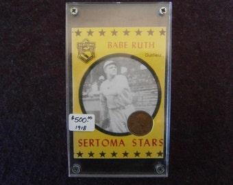 BABE RUTH Baseball Card Rare Sertoma Stars 1918 Wheat Penny
