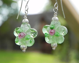Clear Green Earrings, Romantic Earrings, Glass Bead Earrings, Floral Earrings, Glass Earrings, Pink Rose Earrings, Earrings in Handmade