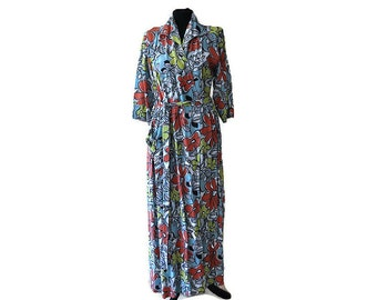 Vintage Floral Maxi Dress / Vintage Floral Robe / 1960s Floral Wrap Around Dress / Waist 32\u0026quot;