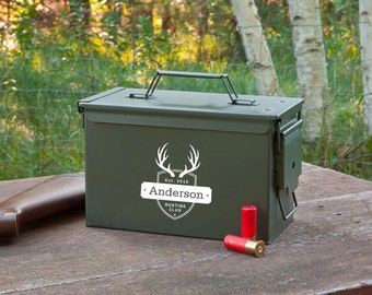Personalized Genuine Metal Ammunition Box - Personalized Ammo Box - Metal Ammo Box - Ammo Box - Gifts for Him - Gifts for Dad - GC1409