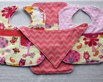 Owls four piece bib set