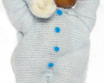 DOLLHOUSE MINIATURE Brown Baby #A3598