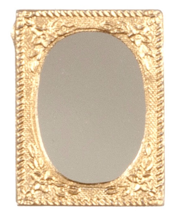 Dollhouse miniatures small gold framed mirror by a1wholesales for Small gold framed mirrors