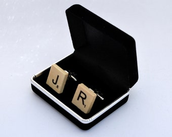 Wooden Scrabble Tile Cuff Links - Smart Casual Cufflinks For The Wordsmith In You - With Gift Box