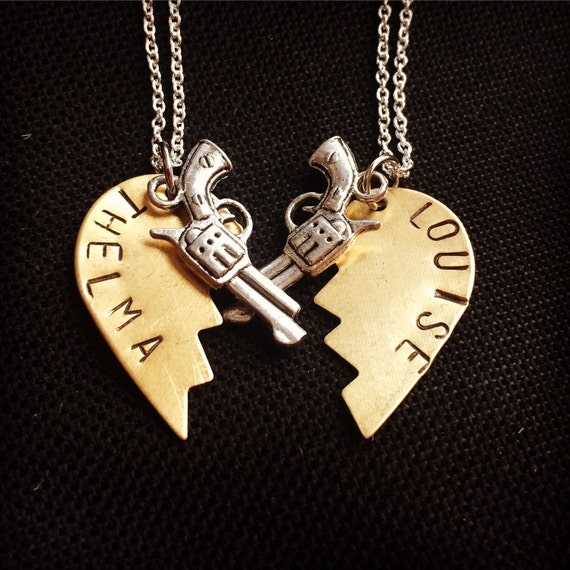 thelma louise necklace set two necklaces copper hearts