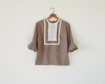 1950s light brown blouse / lace blouse / fluted sleeve blouse top