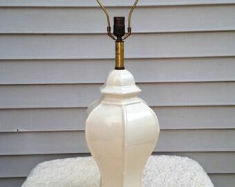 Frederick Cooper Signed/Labeled Vintage White Porcelain Table Lamp