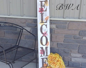 Primitive fall decor, welcome porch sign, fall porch sign, rustic porch sign, welcome fall porch sign, front porch welcome sign