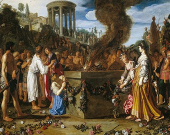 Pieter Lastman: Orestes and Pylades Disputing at the Altar. Fine Art Print/Poster. (002140)