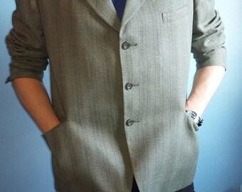 Mens suit jacket wool blazer wool stripy suit real vintage