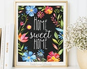 Home sweet home print Entrance wall art welcome print decor art home calligraphy quotes printable art calligraphy quote watercolor 3-86