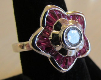 Sterling Silver C Z and Red Faceted Stone Flower Ring.  Size 7 3/4