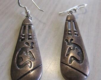 Sterling Silver Kokopelli Dangle Wire Earrings
