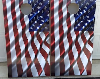 custom bulit American Flag corn hole set with bags