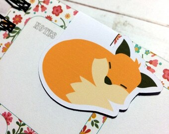 ON SALE One Magnetic Bookmark/Page Marker. Fox Friends - Sleeping Fox