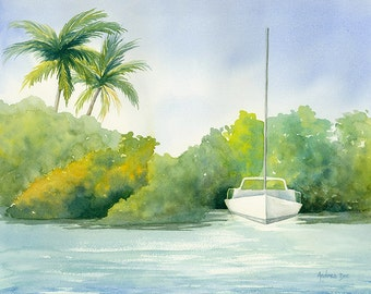 Watercolor Seascape Painting Sailboat 8 x 10 Sail Boat Print Wall Art