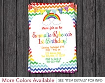 Rainbow Birthday Invitation - Chevron Rainbow Birthday Party Invitations