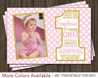 Pink and Gold First Birthday Invitation - 1st Birthday Invitation