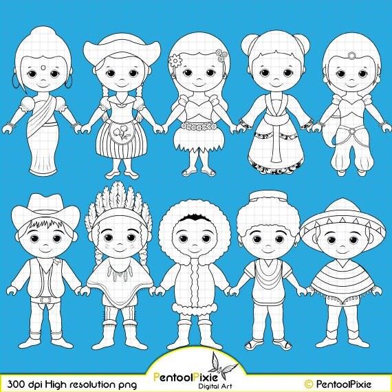 children around the world digital stamp clipart world children digi stamps global clipart