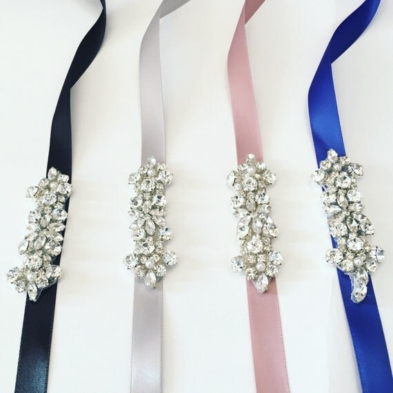 Flower Belts For Wedding Dresses: Bridesmaids Belt Flower Girl Sash Rhinestone Belt Thin