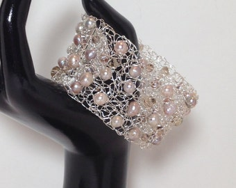 Statement Bracelet Cuff, Champagne Mauve Cultured Pearl, Champagne Faceted Glass, Non-Tarnish Silver Plated Wire, Wire Crochet